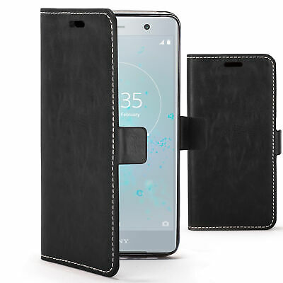 AU7.66 • Buy Sony Xperia XZ2 Premium Case Cover By FC® - PU Leather Flip Wallet Stand - Black