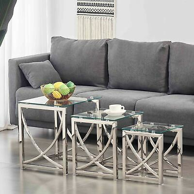 Nest Of Tables Clear Glass Chrome 3-Pec Lamp Side End Coffee Table Set Tea Table • 999£