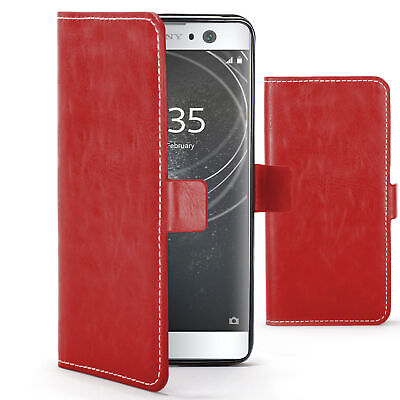 $ CDN7.92 • Buy Sony Xperia XA2 Case Cover By FC - PU Leather Wallet Stand - Red + Stylus