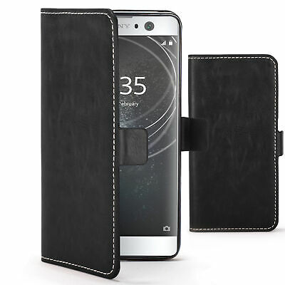 $ CDN7.49 • Buy Sony Xperia XA2 Case Cover By FC - PU Leather Flip Wallet Stand - Black