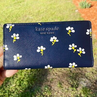 $ CDN72.86 • Buy Kate Spade Cameron Large Slim Bifold Leather Wallet Daisy Toss Night Cap Floral