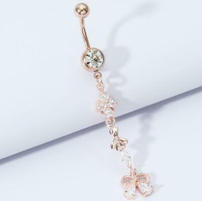 £3.59 • Buy Long Butterly Dangly Belly Bars Navel Button Bar Crystal Piercing Jewellery Ring