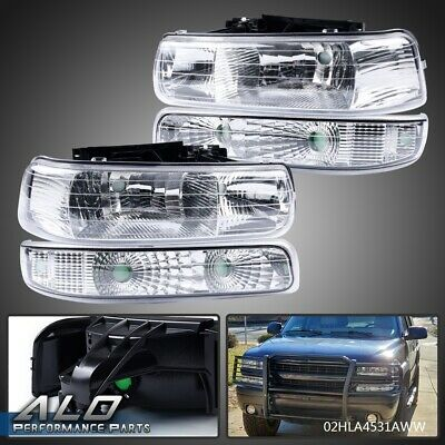 $66 • Buy For 99-02 Chevy Silverado/00-06 Suburban Bumper Headlight/Lamp Clear Side Chrome