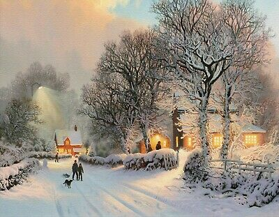 WINTER SCENE CANVAS PRINT Landscape Christmas 16 X 20 Inch Stretched Over Frame • 10.99£