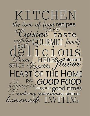 £8.99 • Buy KITCHEN WALL CANVAS Coffee Tea Cafe Decals Picture12  X16  Stretched Over Frame