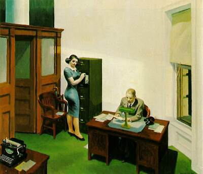£9.99 • Buy EDWARD HOPPER  Office At Night  Canvas Print 12 X16 Inch Stretched Over Frame