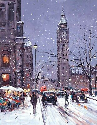 WINTER SCENE London Snow Christmas Canvas Print 12 X16 Inch Stretched Over Frame • 8.99£