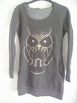 Girls Owl Print Grey Jumper With Hood Made In UK 30  Chest 10-11 Years USED • 3.50£