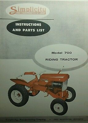 AU117.49 • Buy Simplicity 700 Riding Lawn Garden Tractor & Implements Owner & Parts Manual 1959