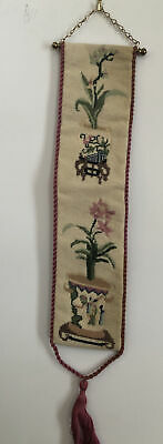 """Vintage Petit Point Floral Needlepoint 23""""x4""""Hangers BELL PULL Completed • 9.66£"""