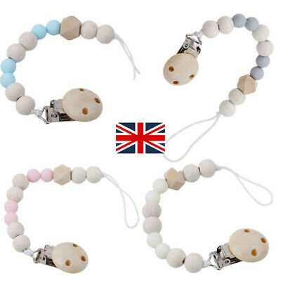 1X Wooden Bead Dummy Clips Baby Soother Chain Holder Strap Pacifier Teething • 2.98£