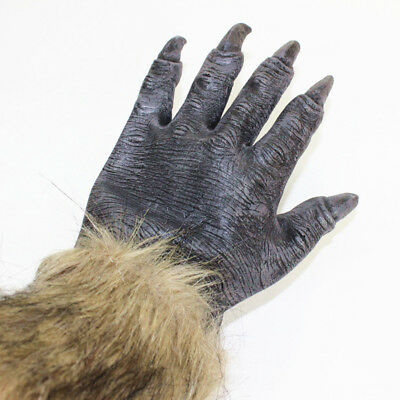 Pair Wolf Werewolf Claws Gloves Paws Halloween Fancy Dress Hands For Adults #B2X • 10.24£