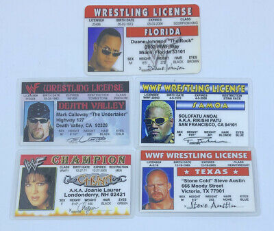 $ CDN25.06 • Buy WWF & WWE Wrestler Souvenir Drivers License ID Card 5 LOT Rock Chyna Undertaker