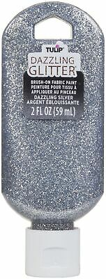 Tulip Dazzling Glitter Brush-On Fabric Paint 2oz-Silver • 5.06£