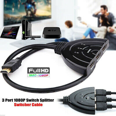 3 Hdmi Port Switch Switcher Splitter HUB Box Cable For HDTV 1080P Xbox PS4 UK • 3.99£