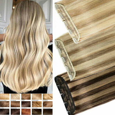 £24.05 • Buy One-Piece Clip In Remy Real Human Hair Extensions Thick Weft Half Full Head LK05