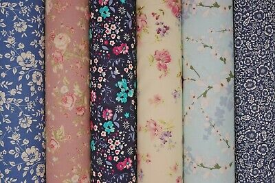 £7.49 • Buy 100% Cotton Fabric Floral Quilting Craft Cloth Rose&Hubble Cotton Fabric Materia