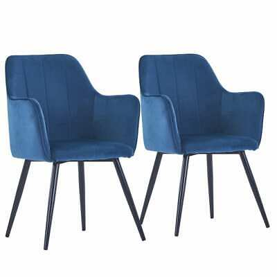 AU236.99 • Buy VidaXL 2x Dining Chairs Blue Velvet Kitchen Dinner Room Seating Furniture
