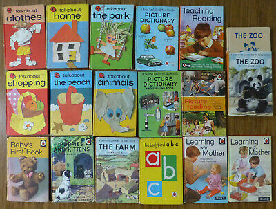 17 Vintage Ladybird Books Incl. Learning To Read, Talkabout, Picture Dictionary • 22£