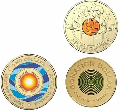 AU18 • Buy 2020 $2.00 Coin Fire Fighters X1 Donation Dollar X1 Eternal Flame X1 = 3 Coins,