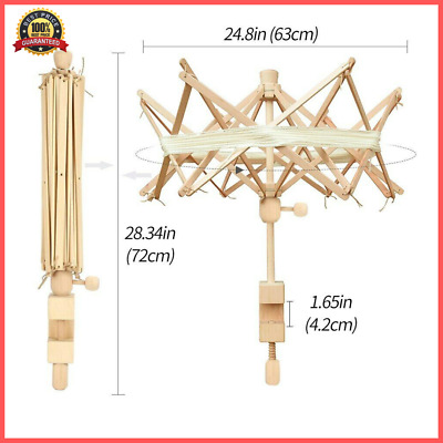 Wooden Winder Holder Umbrella Fiber String Wool Swift Yarn Thread Knitting Tools • 17.73£