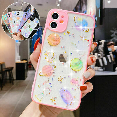 AU8.89 • Buy Glitter Clear Phone Case For IPhone 11 12 Pro 8 7 XR Cute Planet Silicone Cover