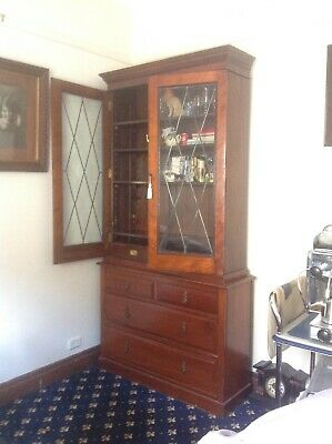 AU650 • Buy Antique Bookcase Glass-fronted Leadlight Doors Mahogany Bookcase