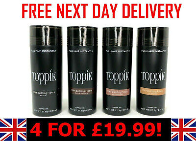 £19.99 • Buy TOPPIK Hair Building Fibers 27.5g-  4 Bottles For £19.99 + FREE NEXTDAY DELIVERY