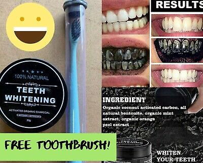 AU14.90 • Buy Charcoal Teeth Whitening - Free Bamboo Toothbrush - All Natural Really Works!