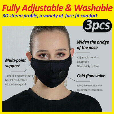 AU10.99 • Buy 3X 5Layer Face Mask Reusable And Washable Cloth Cotton Guard With Air Breathing