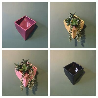 £13.95 • Buy Ceramic Cube Box Wall Planters - 4 Colours - Yellow, Navy Blue, Pink & Plum
