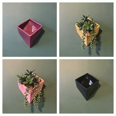 Ceramic Cube Box Wall Planters - 4 Colours - Yellow, Navy Blue, Pink & Plum  • 13.95£