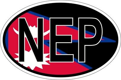 Sticker Oval Flag Code Country Nep Nepal • 2.67£