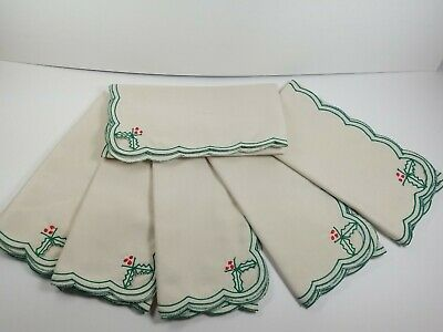 £9.27 • Buy Vintage Christmas Napkins Set 6 Cotton Embroidered Holly Holiday Scalloped Edge