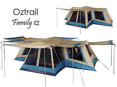 AU499 • Buy OZTRAIL FAMILY 12 Person (4 ROOM) Dome Family Tent - Sleeps 12