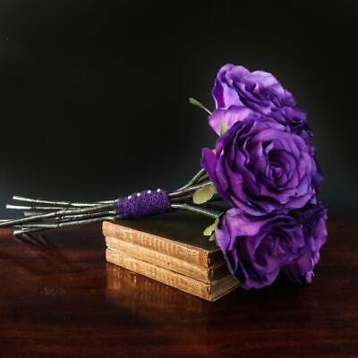 £15.50 • Buy Wedding Bouquet Cadbury Purple Rose Hand Tied Long Stem Artificial Silk Flowers