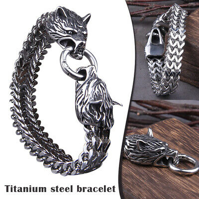 Men's Stainless Steel Viking Wolf Fenrir Head Wolves Head Bracelet Bangle • 11.87£