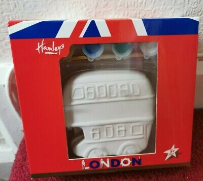 £3.98 • Buy Hamleys Paint Your Own London Money Box NEW Red Double Decker Bus RRP £10