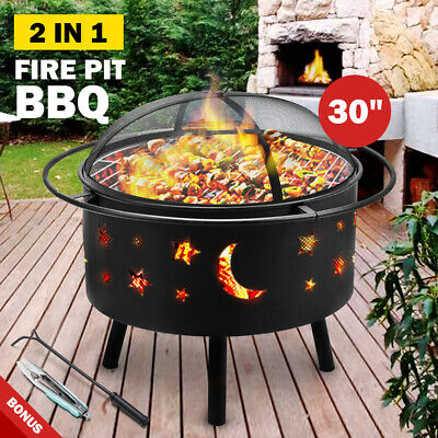 AU119.95 • Buy 30  2-in-1 Fire Pit BBQ Grill Outdoor Fireplace Brazier Camping Patio Heater