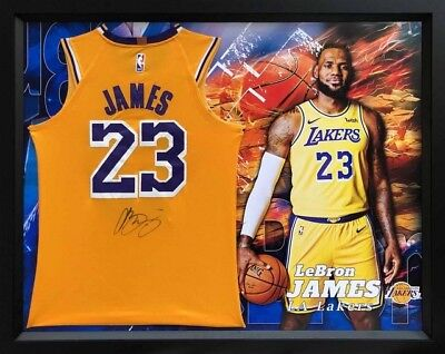 AU1995 • Buy , LeBron James Personally Signed LA Lakers Gold  Icon  Jersey, Framed, With COA