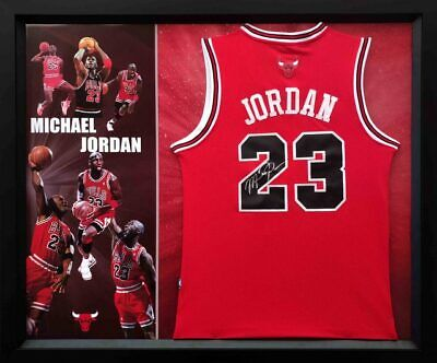 AU2695 • Buy Michael Jordan Personally Signed Red Chicago Bulls Jersey, Framed