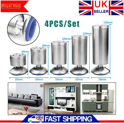 4PC Stainless Steel Feet Plinth Legs Sofa Bed Cupboard Cabinets Furniture Stand • 8.39£