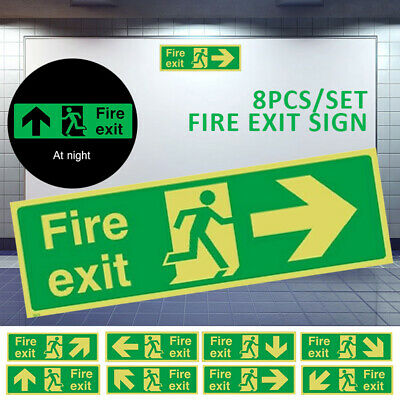 8ps Fire Exit Sign-Luminous Sticker-Emergency,Escape,Fire Drill,Guidance Signage • 9.49£