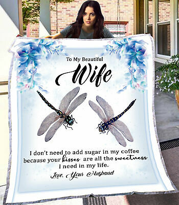 Customized Personalized To My Wife Blankets Valentine Wedding Anniversary Gifts • 57.05£