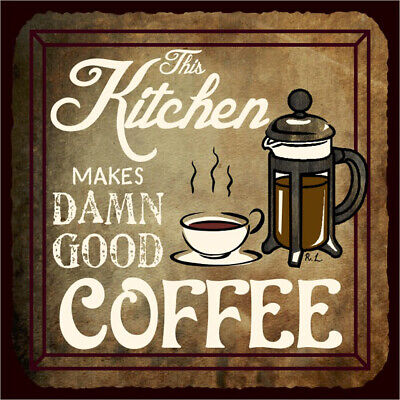£8.99 • Buy KITCHEN CANVAS Art Deco Coffee Cafe Picture 12 X12 Inch Stretched Over Frame