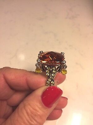 $125 • Buy Charles Winston Sterling Silver HUGE Dangle Cubic Zirconia Ring   Size 7 1/4-1/2