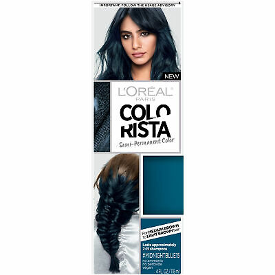 LOreal Paris Colorista Semi-Permanent Hair Color For Brunettes, #MidnightBlue 1 • 11.89£