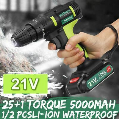 View Details 21V Cordless Drill Driver Electric Screwdriver Tool Set With 2 Lithium Batteries • 31.99£