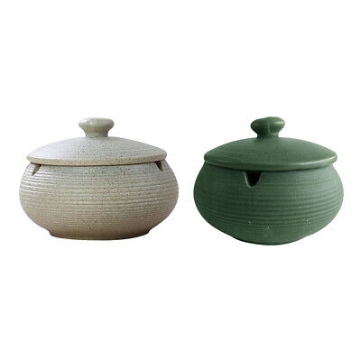 2x Ceramic Ashtray With Lids Windproof Cigarette Ashtray For Indoor/Outdoor Use • 20.89£