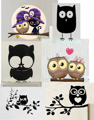 Owl Light Switch Wall Sticker Children's Bedroom Decals Decoration - UK Seller • 1.49£